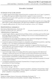 Skills Summary Resume Sample by Resume For An Executive Assistant Susan Ireland Resumes
