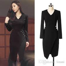korean render the dress empire waist v neck dress fall black dress
