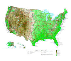 Map Of Usa And Cities by Large Detailed Elevation Map Of The United States With Roads And