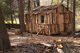 Small Cabin In The Woods Cabin Built Of Slab Wood By Dave Sinaguglia Near Hartford