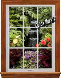 Woodland Forest Peel And Stick Garden Waterfall Window 1 Piece Peel Stick Wall Mural