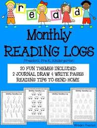 printable preschool u0026 kindergarten monthly reading logs 20 themes
