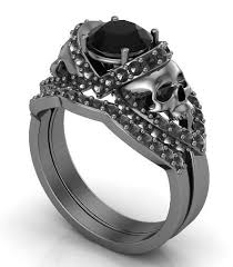 skull wedding ring sets gun metal solid gold skull engagement ring set black diamond center