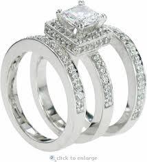 three ring wedding set 1 carat princess cut cubic zirconia halo pave three ring bridal set