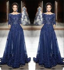 2016 tony ward lace evening gowns scoop half long sleeve applique