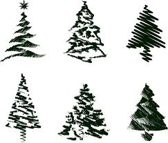 grungy christmas tree sketch set iii royalty free stock image