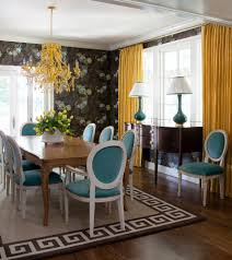 transitional dining dining room transitional with yellow curtains