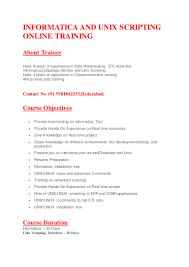 Informatica Admin Jobs Informatica And Unix Scripting Online Training