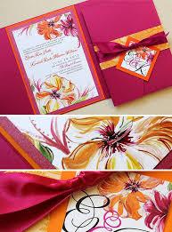 Wedding Invitations Miami Fuschia And Tangerine Miami Hibiscus Wedding Stationerymomental
