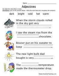 education world adjectives work sheet