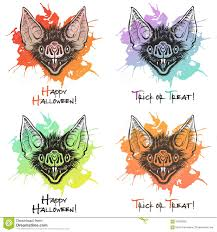 Bat Drawings For Halloween by Bat Head With Blot Halloween Illustrations Stock Vector Image