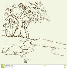 Oak Tree Drawing Mountain Landscape With Oak Trees Vector Drawing Stock Vector