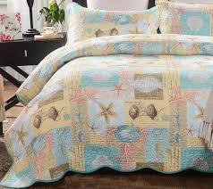 Beach Bedspread Mixinni Seashell Beach Bedding Set King Beach Theme Quilt Set With