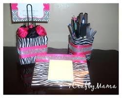 Zebra Desk Accessories Bling Office Desk Set Zebra Print By 1chicncraftymama