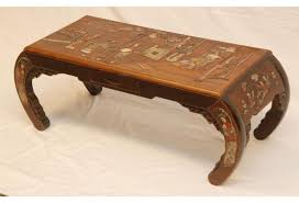 Asian Coffee Tables by Chinese Carved Wood U0026 Inlaid Stone Coffee Table