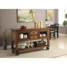 acme furniture kadri distressed chestnut kitchen cart with storage