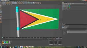 Guyana Flag Cinema 4d Flag Waving Design Guyana Youtube