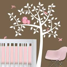 owl tree girl baby owl nursery theme nursery wall decals zoom