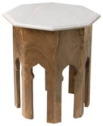 Mango Wood Outdoor Furniture - small atlas table natural mango wood with white marble top