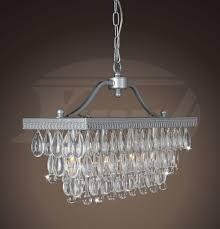 Silver Chandelier by Sapphire Matte Silver Crystal Glass Drop 3 Light Chandelier 20
