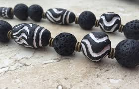 black agate necklace images African tribal clay beads lava rock large agate black white jpg