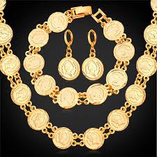 bracelet earring jewelry necklace images Queen head coin necklace bracelet earrings set women fashion jpg