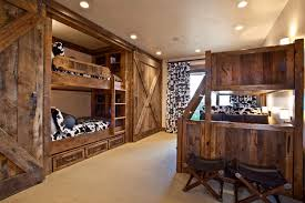 bedroom hide a bed with led track lighting and rustic desk chairs