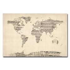 World Map Canvas Amazon Com Trademark Fine Art Old Sheet Music World Map By