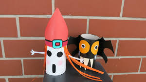 Halloween Recycled Crafts by Diy Ghost And Bat From Paper Tube Roll How To Make Halloween
