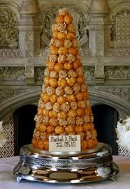 croquembouche tower by french bakery patisserie la cigogne blue