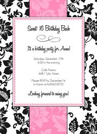 black white and pink sweet 16 birthday party invitation party