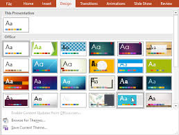 powerpoint 2016 applying themes page