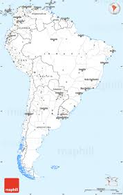 Blank South American Map by Silver Style Simple Map Of South America