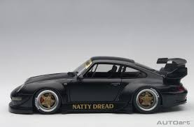 autoart porsche rwb 993 1 18 model car 78154 matt black with gold