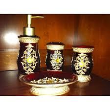 accessory set 4 piece burgundy gold bathroom vanity resin