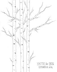 winter wedding guest book small aspen tree thumbprint tree