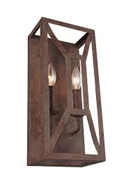 Two Light Wall Sconce Wb1865wi 2 Light Wall Sconce Weathered Iron