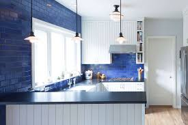 white kitchen cabinets with blue subway tile beautiful blue kitchen design ideas