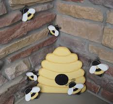 bee hive and bees for home decor bee themed decor and