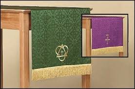 jacquard reversible table runner with cross purple green church