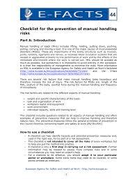 e fact 44 checklist for the prevention of manual handling risks