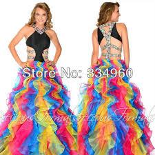 a line girls rainbow prom dresses organza rhinestone floor length