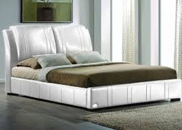 queen sorrento combination leather ette bed shiny white