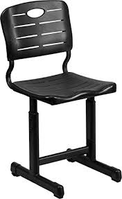 adjustable height student desk and chair with black pedestal frame amazon com flash furniture adjustable height black student chair