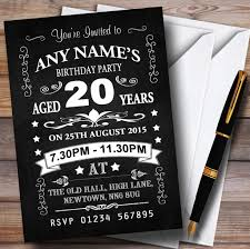 vintage chalkboard style black and white 20th birthday