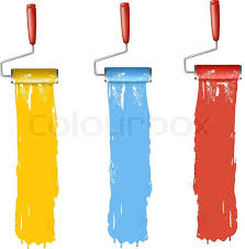 set of colorful paint roller brushes vector illustration stock