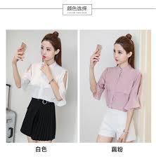 blouse band buy band collar open sleeve chiffon blouse sally fashion malaysia