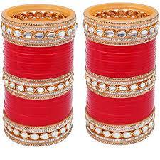 punjabi wedding chura lucky jewellery designer white kundan golden bridal