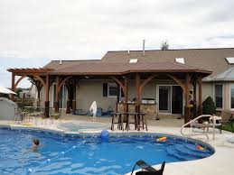 Backyard Designs With Pool And Outdoor Kitchen Pool House Ideas Pool Design Ideas