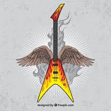 vintage background of electric guitar with wings vector free